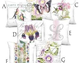 Flowers Birds Butterflies and Maiden Purple Lavender Orchid Coordinates - 16x 18x 20x 22x 24x 26x 28x Inch Pillow Cover Linen Cotton Pillow