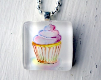 Pink Cupcake Necklace - Watercolor Art Glass Tile Necklace