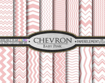 Baby Pink Chevron Digital Paper Pack - Instant Download - Chevron Paper for Digital Scrapbooking