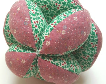 Baby clutch ball, vintage patchwork grab ball, baby toy, Montesori ball in green and pink floral cotton, puzzle ball, baby shower gift.
