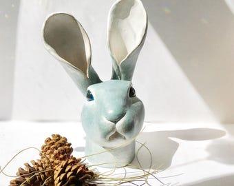 Blue Ceramic Bunny Head - facial rabbit expression - bunny face sculpture - rabbit lover's gift - sculpted rabbit head - interior design dec