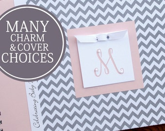 Baby Shower Guest Book | Guestbook | Personalized Baby Shower Memory Book | Baby Girl Book | Gray Chevron & Pink with Initial Charm