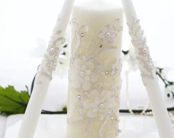 Wedding Unity Candles Set, Lace Wedding Candles, Personalized Wedding Candles, Wedding Candle Unity, Unity Candles, 3pcs