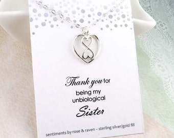Unbiological Sister Necklace - infinity heart - message card - sterling silver - infinite love - best friend gift