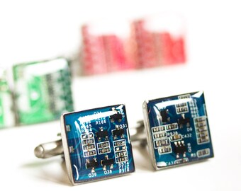 Cufflinks with real circuit boards, mens cufflinks, gift for him, graduation gift, gift for dad, cufflinks for groom, wedding cufflinks