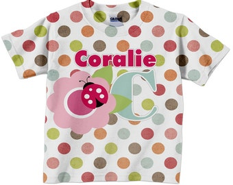 Girls Ladybug Shirt, Personalized Polka Dot Flower Tshirt, Girls Clothing
