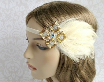 Daisy Buchanan Costume Headpiece, Cream Flapper Headpiece, Great Gatsby Headpiece, 1920s Wedding Headband, Roaring 20s Feather Fascinator