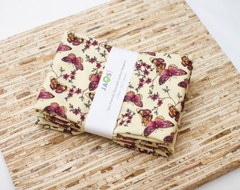 Large Cloth Napkins - Set of 4 - (N2409) - Butterflies Modern Reusable Fabric Napkins