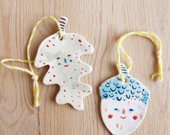 Leaf & Acorn Ornaments