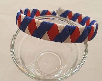 Red white and royal blue grosgrain ribbon woven headband hairband school headband adult headband teenager headband holiday headband