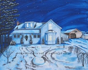 Custom made house portrait for the holidays