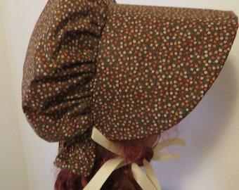 Women's Pioneer Prairie Victorian Civil War Bonnet Sunbonnet Primitive, trek, historical, hat, reenactment, 1800's, brown floral print, NEW