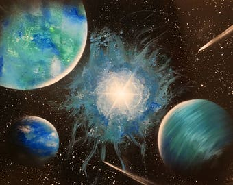 Space Spray paint art Blue space picture Space painting Turquoise space Blue planet Space art Picture nebula Spray art Acrylic painting Star