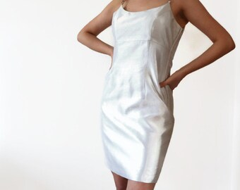 Silver Dress / 90s Silk Dress / Space Dress / 100% Silk Dress / 1990s Mini Dress / Short Dress / y2k Party Dress/ Soft Grunge Dress / M/L