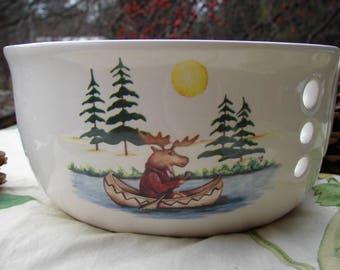 Moose on Vacation!! Large Ceramic Yarn Bowl / Yarn Holder