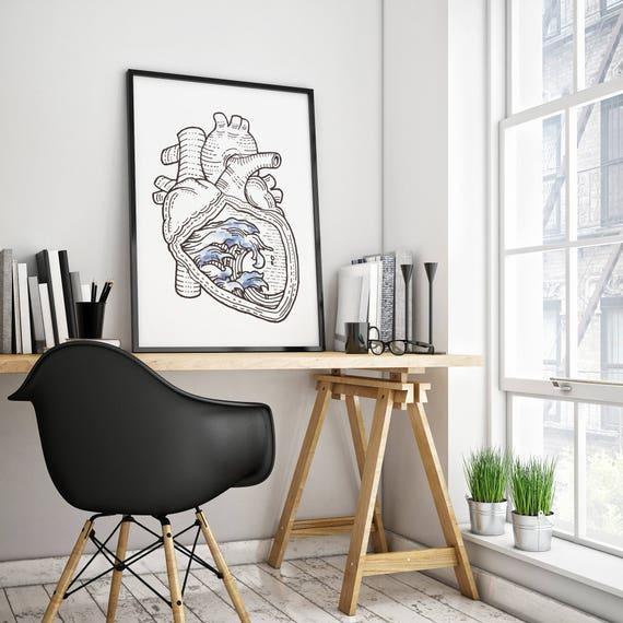 OCEAN HEART   Framed poster    Wall Art Decor   Japanese Waves   Ink and watercolor   Surfing poster   Anatomical Heart   ZuskaArt
