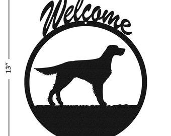 Dog Gordon English Setter Black Metal Welcome Sign