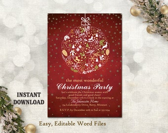 Christmas party invitation card chalkboard printable christmas party invitation card chalkboard printable template holiday party card red christmas card editable template gold white diy ch5 m4hsunfo