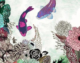 Fish art, Living Room Art, Drawing Print, Fine Art Print, Modern Art, Feng Shui Art