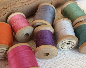 Vintage cotton thread set of 10 wooden spools, rainbow soviet vintage thread reels, sewing supplies made in USSR, millinery collectibles