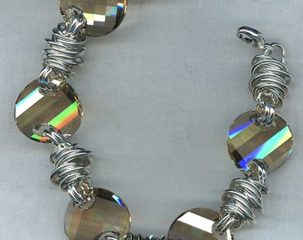 Tornado Twister Bracelet in Argentium Sterling Silver with Swarovski Crystals