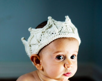 Baby Crown Headband Prop in Cream White Knitted Lace