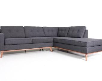 Mid Century Danish Modern Sectional Chaise Sofa