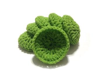 Lime Green Crocheted Nylon Netting Dish Scrubbies- Set Of Six