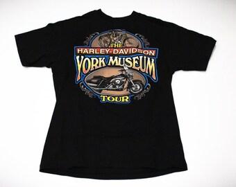 Vintage 90s 1994 Harley Davidson York Museum Tour T-Shirt
