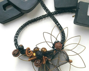 Tiger's Eye Viking Knit necklace.  Structural gemstone necklace, black floral necklace, Viking Knit jewellery, wire necklace, Tigers Eye