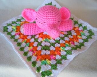 Crocheted Amigurumi Pink Elephant Lovey Snuggle/Security Blankie