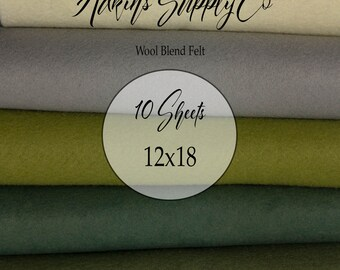 10 Felt Sheets - Wool Felt Sheets - 12x18 Felt Sheets - Wool Blend Felt - Choose Your Colors - Wool Fabric