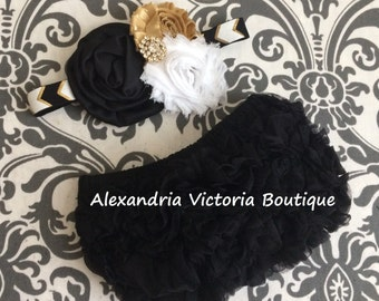 BLACK and GOLD BLOOMER set, baby headband and chiffon ruffle diaper cover, black, gold and white baby set.