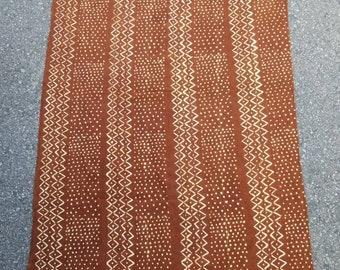 Mud cloth fabric rust and White