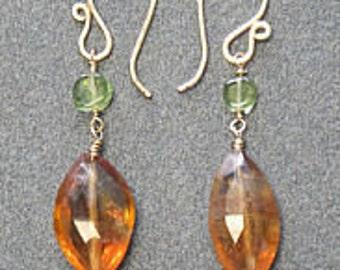 Peridot & Citrine Earrings Victorian 227