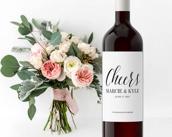 Custom Wedding Wine Bottle Labels - Rehearsal Dinner Labels Engagement Gift Wine Labels - Newlyweds Bride & Groom Gift Personalized