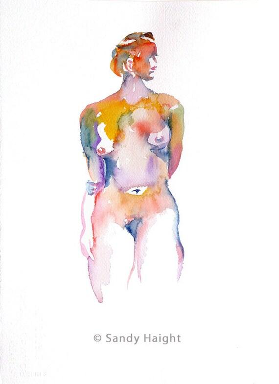 Original Watercolor-25% OFF SALE! Sideglance, painting, art, figure, nude, woman, frontal, decor, wall art, home, figurative, multicolored
