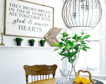 They Broke Bread In Their Homes Wood Sign. Scripture Art. Dining Room Decor.