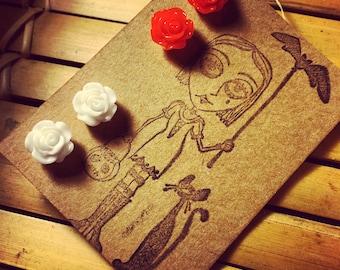 5mm Handmade Rose Earrings