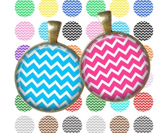 Rainbow Chevron - Digital Collage Sheet 1 inch Printable Circles Download for pendants magnets bottle caps