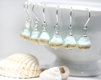 Blue Beach earrings Coastal jewelry Handmade Lampwork glass Light Blue earrings Serenity jewelry Sterling silver by MayaHoney