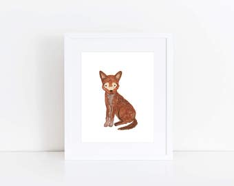Red Wolf Print - EcoFriendly, Eco, Green, Recycled, Gives Back, Wildlife Conservation, Watercolor, Baby, Wolf