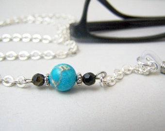Turquoise Eyeglass Chain, Eyeglasses Necklace, Eyeglass Lanyard, Womens Eye Wear, Chain for Glasses, by Eyewearglamour