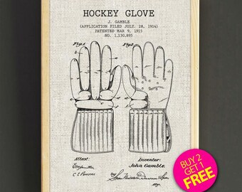 Hockey Glove Patent Print Hockey Glove Art Print Poster, Patent Poster, Hockey Patent Print Wall Art, Home Decor, Gifts, Hockey Print 283s2g