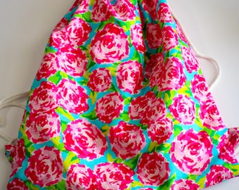 Roses Drawstring Backpack, Pink Roses Drawstring Bag, Floral Drawstring Backpack, Floral Drawstring Bag, Floral Bag, Roses Bag, Pink Roses