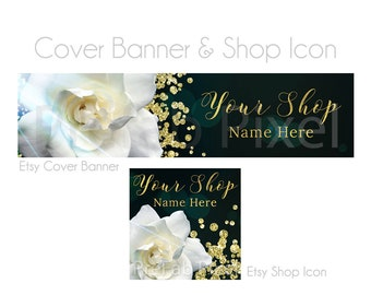 Gardenia Etsy Banner, Shop Cover Photo and Icon with White Flower and Gold Foil Glitter Accents, Shop Banners for Etsy, Wedding Store Banner