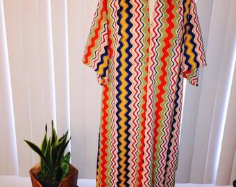 Vintage 1970's Multi Color Ric Rac Mod Maxi Dress Sz L / XL