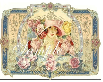 Digital Download,Christy Girl in Cloche hat with roses,Perfume Bottle Label custom designed