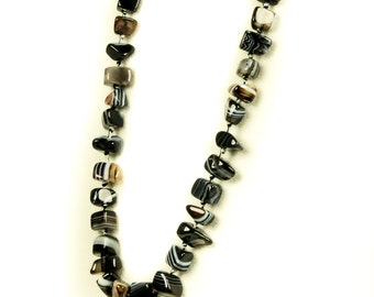 Designer Black And White Agate Necklace
