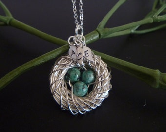 Birds Nest Necklace with eggs - Mom necklace - Mother's Day Gift - Mother of the Bride - Mommy Necklace
